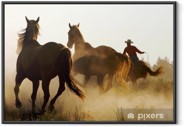 Ingelijste Poster Wrangler hoeden wilde paarden - Thema's