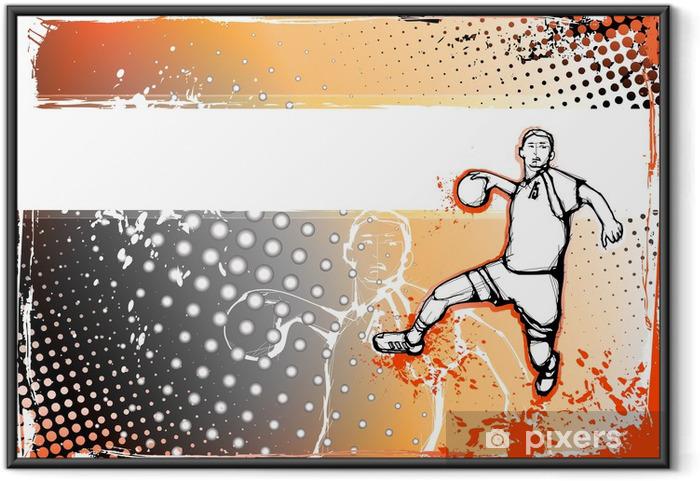 Plakat w ramie Pomarańczowe tło piłki ręcznej - Sporty drużynowe