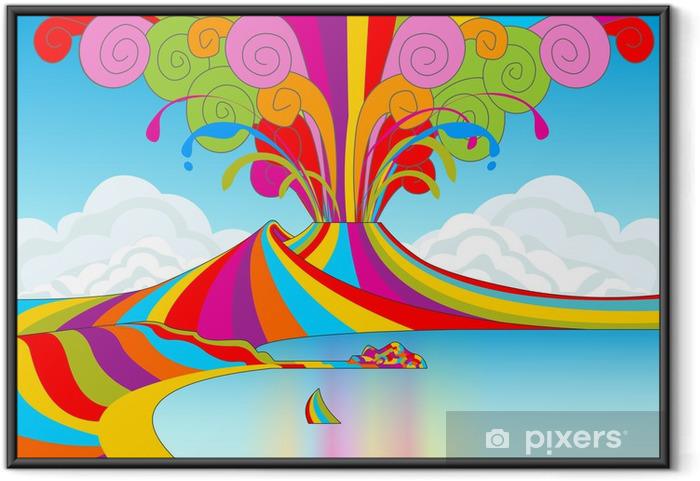 Plakat w ramie Neapol i Wezuwiusz w Rainbow Eruption - Góry
