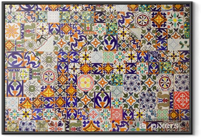 Poster i Ram Keramiska plattor mönster - Kakel