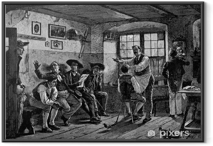 Plakat w ramie Wsi Coiffeur / fryzjer - 19 wieku - Sklepy