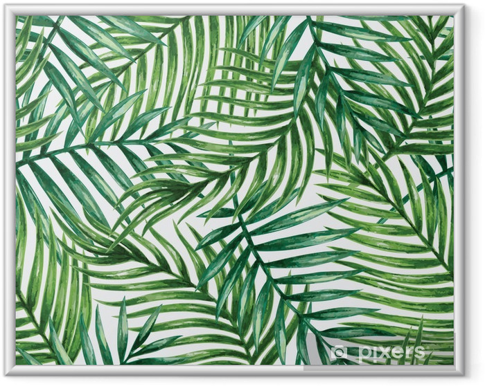 Plakat w ramie Watercolor tropical palm leaves seamless pattern. Vector illustration. - Tła