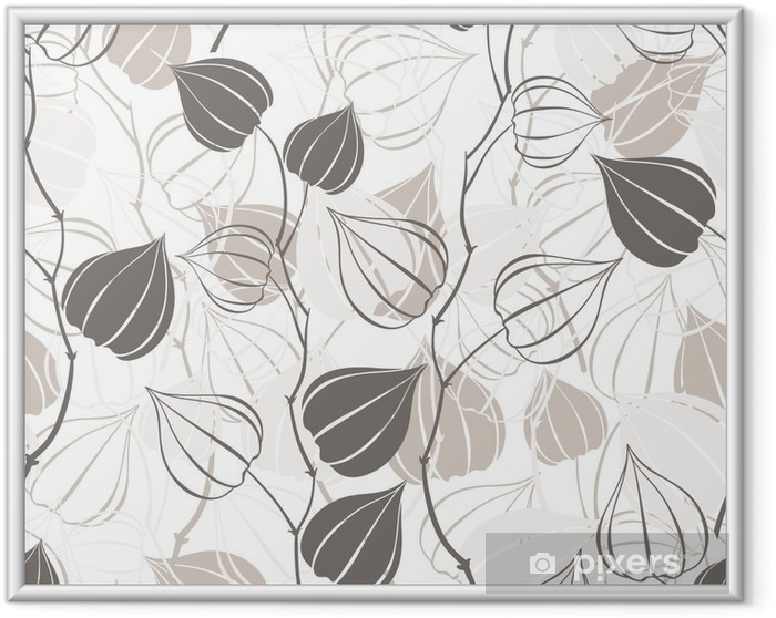 Poster en cadre Seamless avec des branches physalis. Résumé de fond floral. - Plantes et fleurs