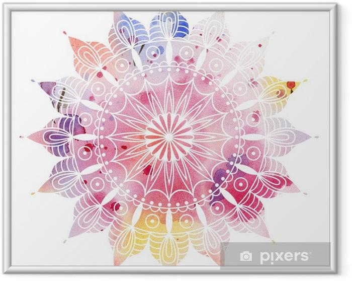 Ingelijste Poster Mandala kleurrijke aquarel. Mooie ronde patroon. Gedetailleerde abstracte patroon. Decoratief geïsoleerd. - iStaging