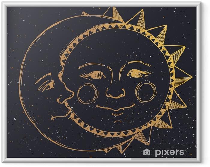 Ingelijste Poster Hand getrokken zon met maan - Grafische Bronnen