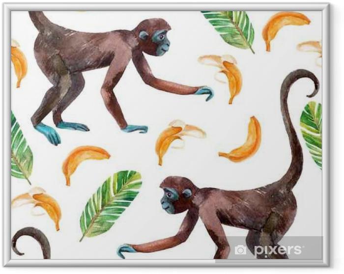 Ingelijste Poster Monkey naadloos patroon. - Dieren