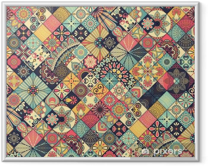 Ingelijste Poster Etnische bloemen naadloos patroon - Grafische Bronnen