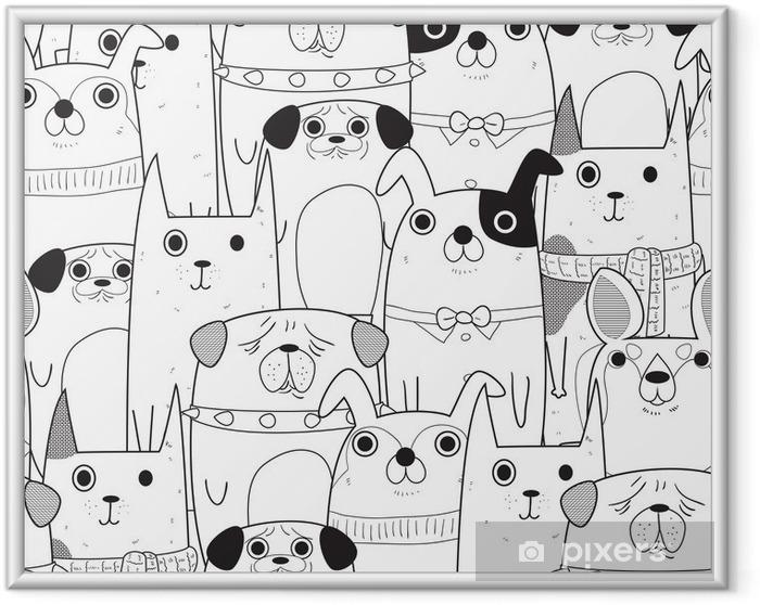 Çerçeveli Poster Dikişsiz Köpekler desen - Hayvanlar