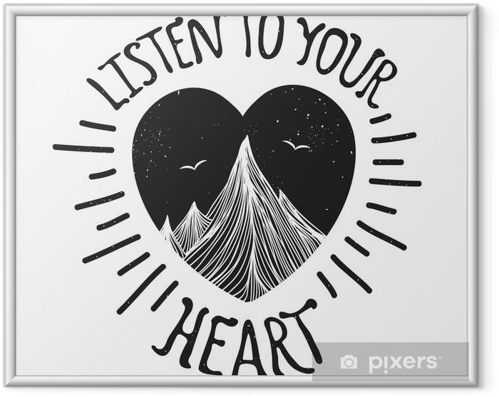 Poster en cadre Vector illustration avec des montagnes à l'intérieur du coeur - Paysages