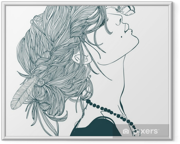 Plakat w ramie Profil piękne kobiety z motyla - Ludzie