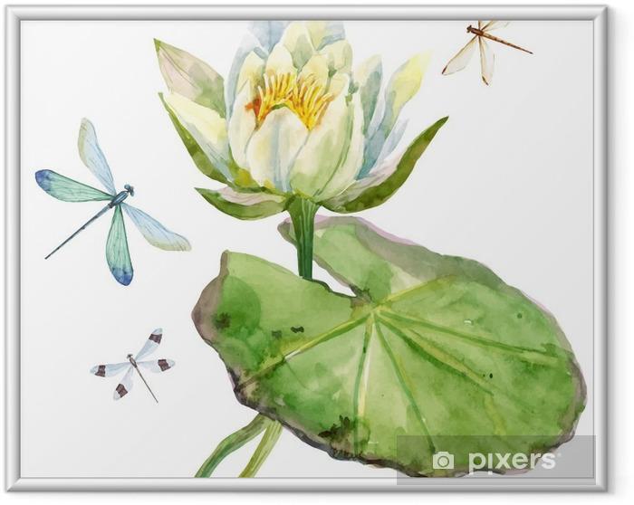 Ingelijste Poster Watercolor lotusbloem - Bloemen en Planten