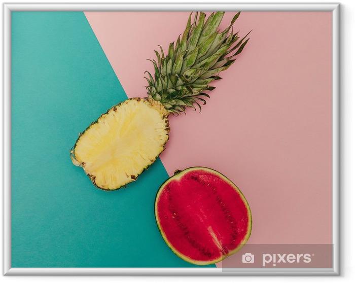 Çerçeveli Poster Tropik Mix. Ananas ve Karpuz. minimal Stil - Yaşam tarzı