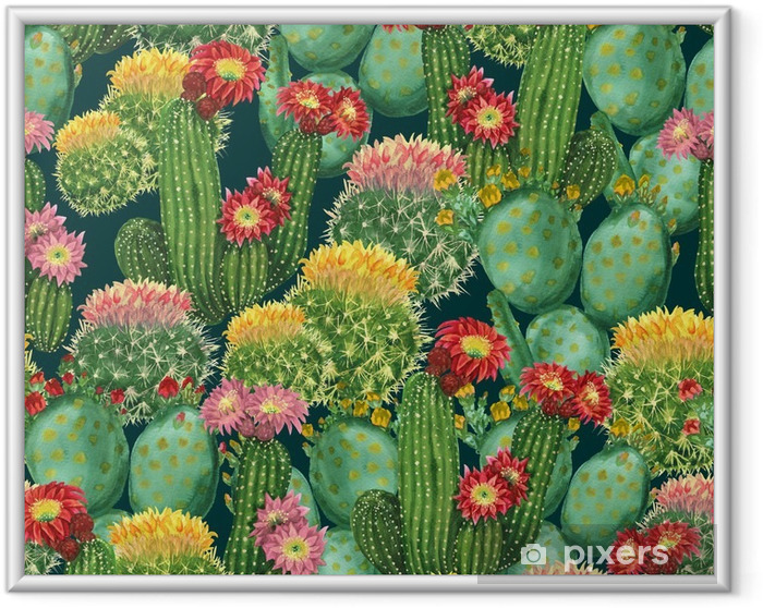 Poster i Ram Mönster med blommande kaktusar - Växter & blommor