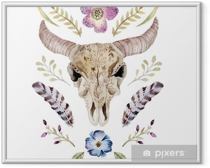 Poster in Cornice Acquerello illustrazione vettoriale boho con il cranio - Risorse Grafiche