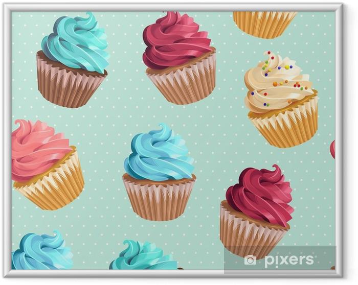 Ingelijste Poster Naadloze cupcakes en polka dot - Eten