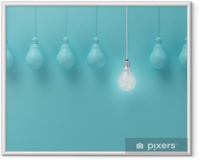 Plakát v rámu Visí žárovky s zářící jednu jinou představu o světle modrém pozadí, minimální koncept nápad, ploché laické uživatele, nahoře - Podnikání