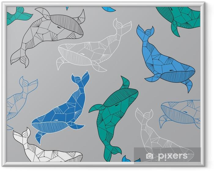 Saumaton meri kuvio käsin vetää valaita Kehystetty juliste -