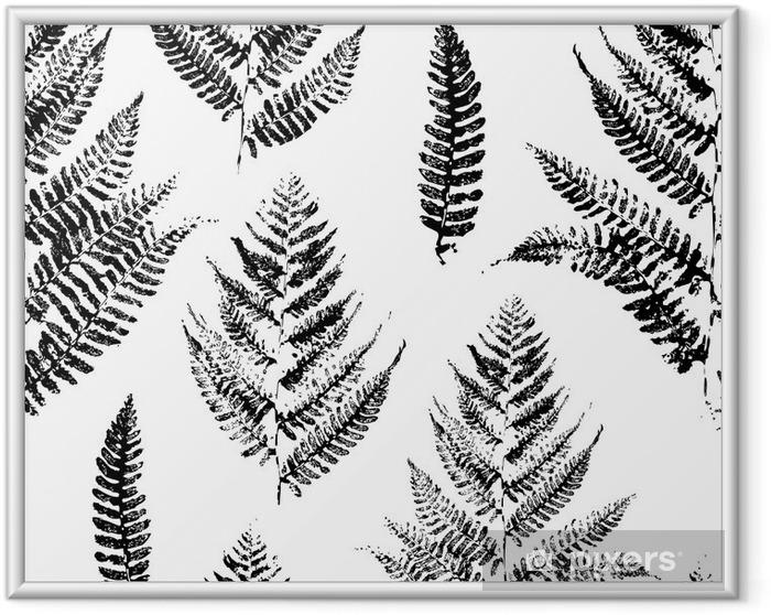 Gerahmtes Poster Nahtlose Muster mit Farbe druckt Farnblättern - Industrie-Still