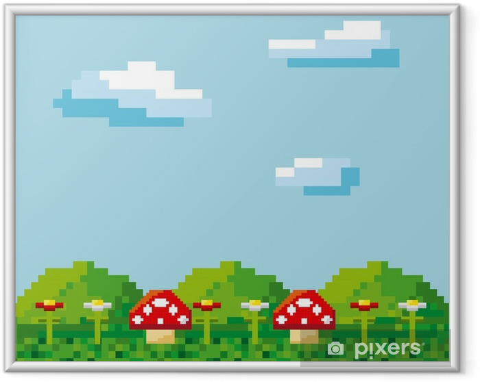 Póster com Moldura Jogo de vídeo pixelizada ícones ilustração vetorial design - Recursos Gráficos