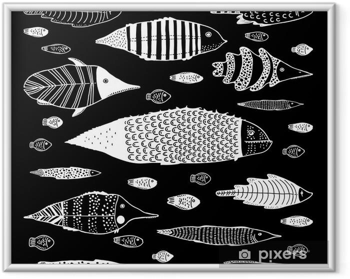 Ingelijste Poster Verzameling van grappige vissen - Dieren