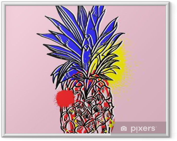 Poster en cadre Ananas fruits tropicaux. objet Vector. - Nourriture