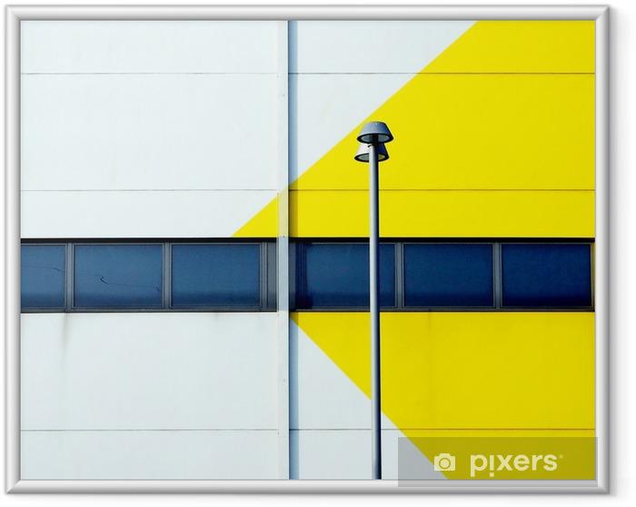 Póster Enmarcado Fachada minimalista amarilla y blanca de un edificio moderno con una farola. - Construcciones y arquitectura