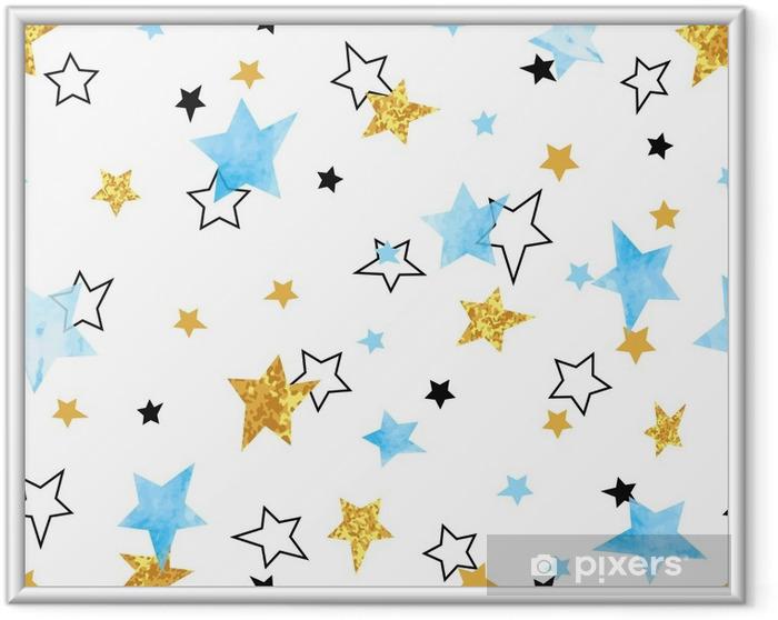 Ingelijste Poster Naadloze sterren patroon. vector achtergrond met aquarel blauwe en glinsterende gouden sterren. - Grafische Bronnen