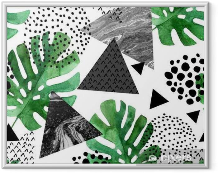 Çerçeveli Poster Suluboya tropikal yapraklar ve dokulu üçgenler arka plan - Grafik kaynakları