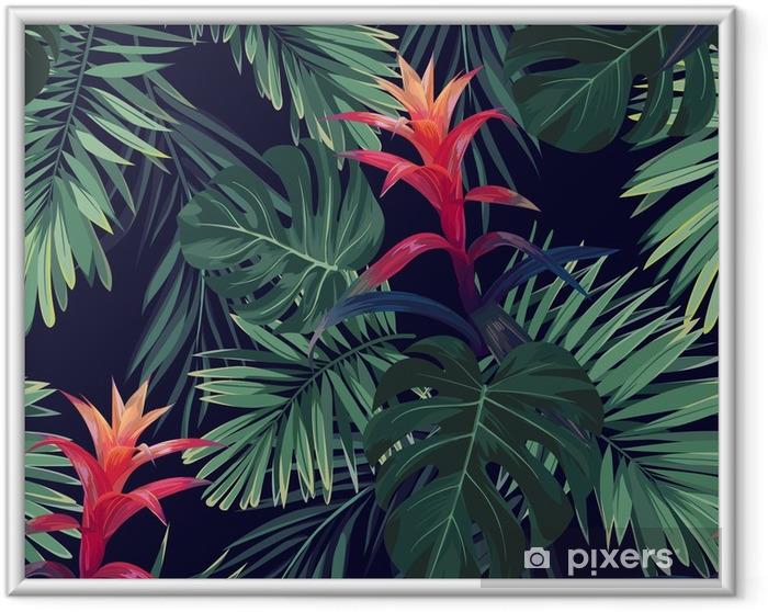 Plakat w ramie Ręcznie rysowane kwiatowy wzór z kwiatów guzmania, monstera i liści palmowych. egzotyczne hawajskie tło wektor. - Rośliny i kwiaty
