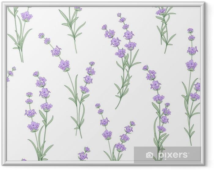 Ingelijste Poster Naadloze patroon van lavendel bloemen op een witte achtergrond. waterverfpatroon met lavendel voor stoffenmonster. naadloos patroon voor stof. vectorillustratie - Levensstijl