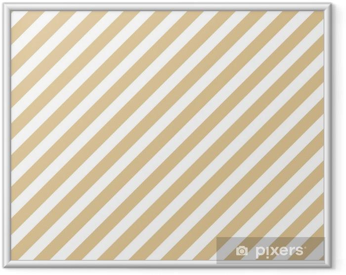 Ingelijste Poster Streep beige naadloze patroon - Grafische Bronnen