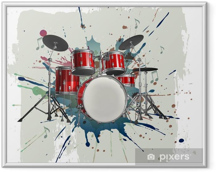 Ingelijste Poster Drumstel op grunge achtergrond - jazz