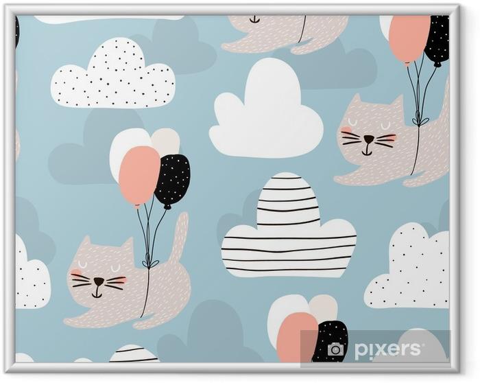 Ingelijste Poster Naadloos kinderachtig patroon met schattige katten vliegen met ballon. creatieve kwekerij achtergrond. perfect voor kinderen ontwerp, stof, inwikkeling, behang, textiel, kleding - Grafische Bronnen