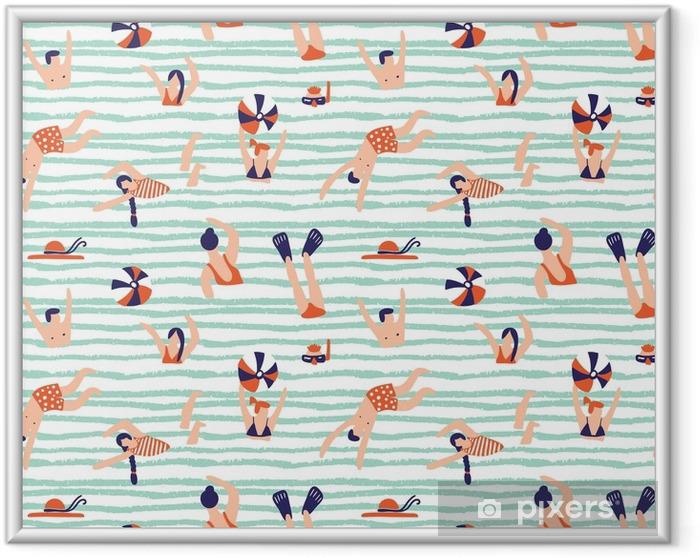 Póster Enmarcado Patrón sin costuras de verano. gente nadando en el mar ilustración vectorial con nadadores. - Recursos gráficos