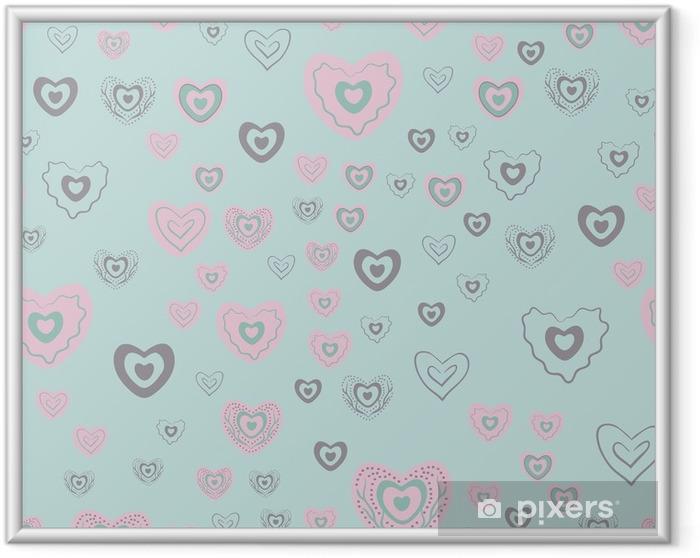 Ingelijste Poster Naadloze hart patroon - Grafische Bronnen