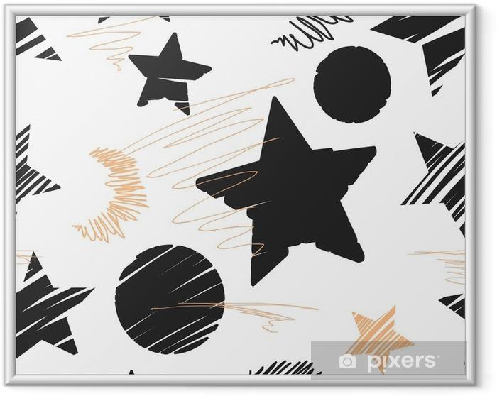 Poster en cadre Fond transparent des étoiles et des lunes. illustration dessinée à la main. - Ressources graphiques