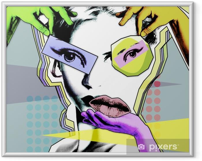 Ingelijste Poster Vrouwelijke schoonheid en plastische chirurgie. retro poster in de stijl van pop art .. - Levensstijl
