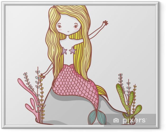Ingelijste Poster Kleine zeemeermin cartoon - Dieren