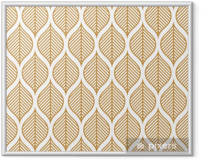Ingelijste Poster Vector geometrische blad naadloze patroon. abstracte bladeren textuur. - Grafische Bronnen