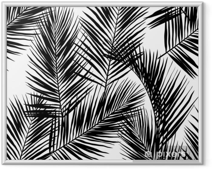 Plakat w ramie Czarne liście palmowe wektor na białym tle. ręcznie rysowane wzór. idealny do tkanin, tapet lub papieru do pakowania. - Rośliny i kwiaty