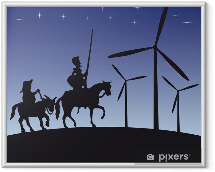 Poster i Ram Don Quijote vektor illustration tecknad silhuett - Riddare