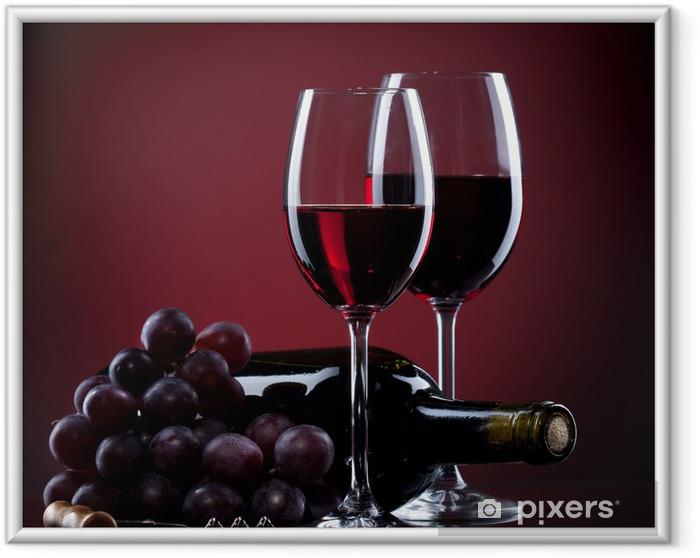 Póster Enmarcado Vino en copas con uvas y botella en rojo - Culinario