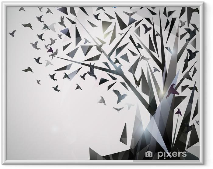 Ingelijste Poster Abstracte Boom met origami vogels. - Thema's