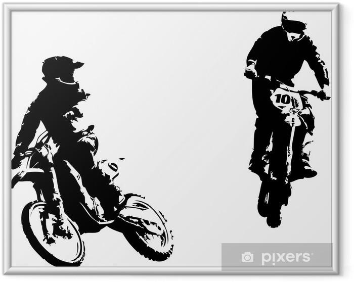 Plakat w ramie Dwa motocross riders - Naklejki na ścianę