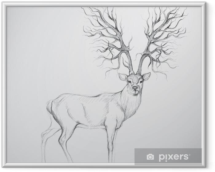 Póster Enmarcado Ciervos con la cornamenta como árbol / esbozo realista - Temas