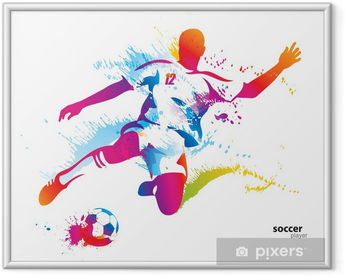 Soccer player kicks the ball. The colorful vector illustration Framed Poster - Destinations