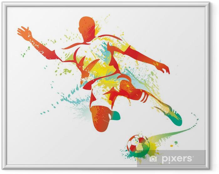 Plakat w ramie Piłkarz kopie piłkę. ilustracji wektorowych. - Przeznaczenia