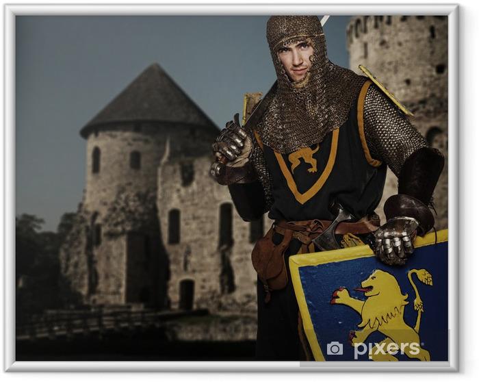 Poster i Ram Knight mot medeltida slott. - Riddare