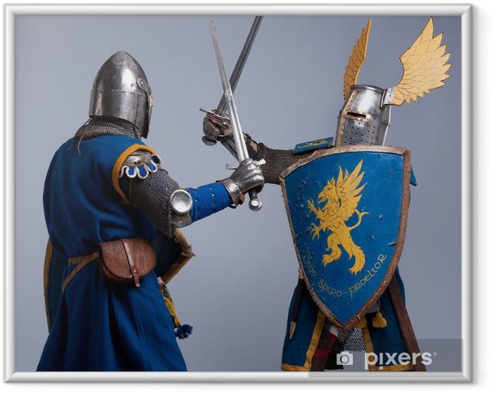 Poster i Ram Två medeltida riddare som slåss. - Riddare