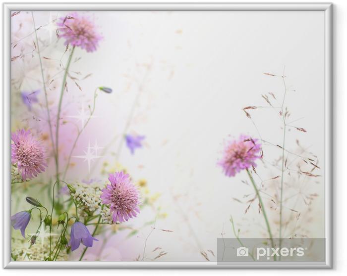 Ingelijste Poster Mooie pastel bloemen grens - vage achtergrond - iStaging